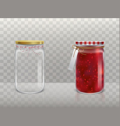 a set of of glass round jars vector image
