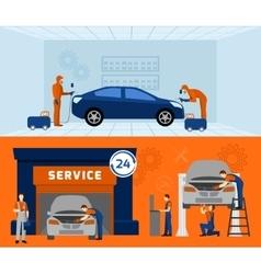 Auto mechanic 2 flat banners set vector