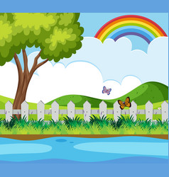 background scene with butterflies and rainbow vector image vector image