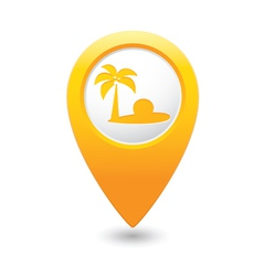 beach icon on map pointer yellow vector image vector image