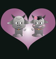 buffalo love vector image vector image