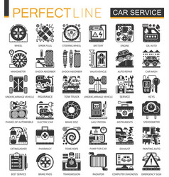 Car service black mini concept icons and vector
