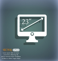 Diagonal of the monitor 23 inches icon sign on the vector