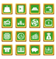 Different money icons set green vector