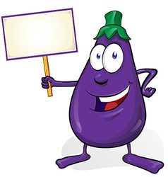 eggplant cartoon isolated on white background vector image vector image