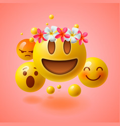 Emoticons with flower on head summer concept vector