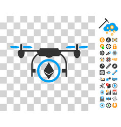 Ethereum copter icon with bonus vector