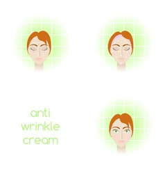 Face care - using anti-wrinkle cream vector