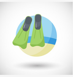 Flippers on the beach flat icon vector