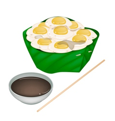 Fried Quail Eggs in Counts Banana Leaf vector image vector image