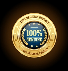 Genuine original product golden insignia medal vector