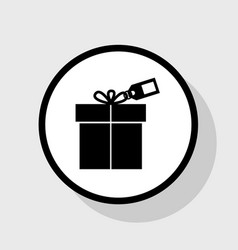 Gift sign with tag flat black icon in vector