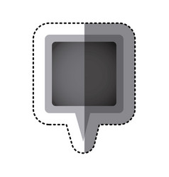grayscale sticker of square speech with tail in vector image