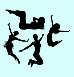 Gymnastic teenager girl action sport silhouette vector