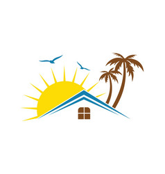 hotel house tropic sunset logo vector image vector image