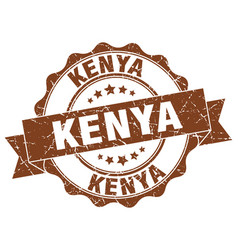 Kenya round ribbon seal vector