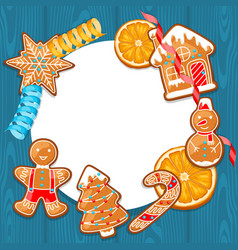 Merry christmas frame with various gingerbreads vector