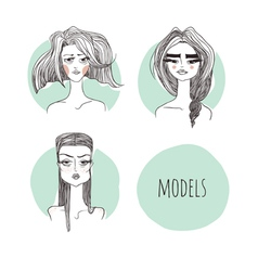 Models on a mint background vector