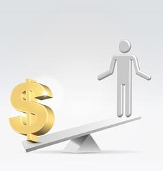 Money over staff vector image