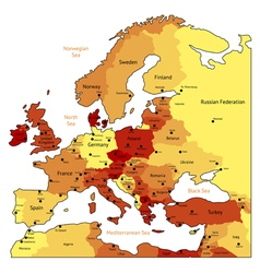 Orange map of europe vector