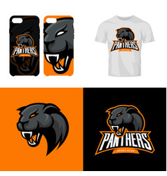 panther head sport club isolated logo vector image