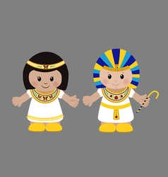 Pharaoh and Cleopatra in ancient Egyptian clothing vector image