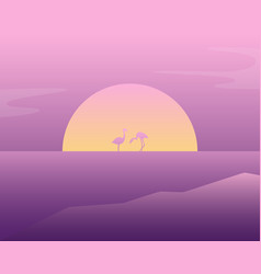 Pink flamingos in the water vector