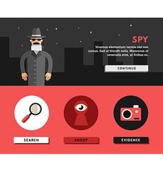 Profession concept spy flat design concepts for vector