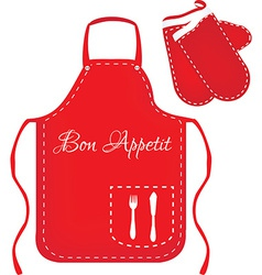 Red apron and mittens vector image