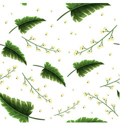Seamless background template with green leaves vector