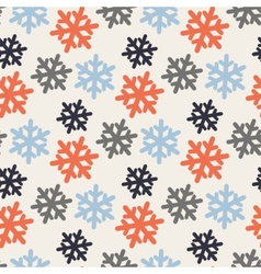 seamless pattern with colorful snowflakes vector image