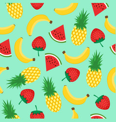 seamless pattern with yellow bananas pineapples vector image vector image