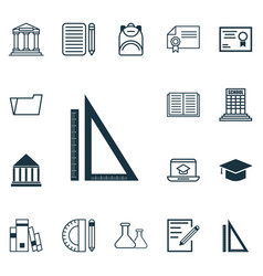 Set of 16 school icons includes measurement vector