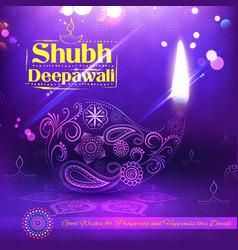 Shubh deepawali happy diwali background with vector