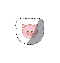 Small sticker colorful picture face cute pig vector