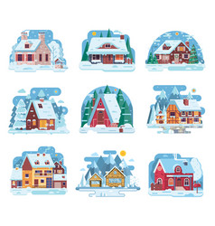 Winter country house and cabin set vector