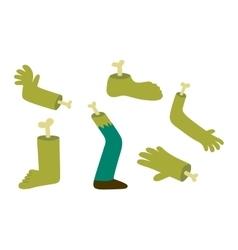 Zombie halloween cartoon foots and hands vector image