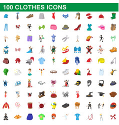 100 clothes icons set cartoon style vector image