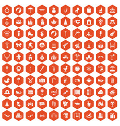100 happy childhood icons hexagon orange vector