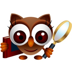 Cute owl with magnifying glass vector