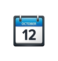 October 12 calendar icon flat vector