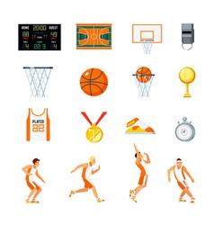 Basketball Orthogonal Icons Set vector image