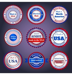 Trade labels and stickers on Made in the USA vector image