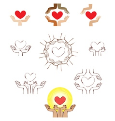 Hands and heart icon logo element vector image