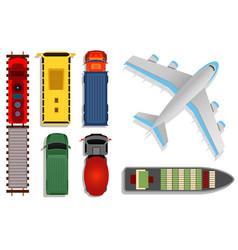 Top view transport  cargo vector