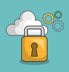 Padlock secure tool design vector