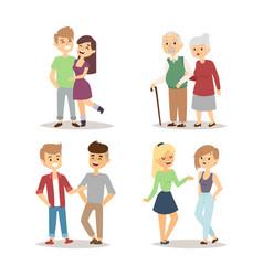 People happy couple cartoon relationship vector
