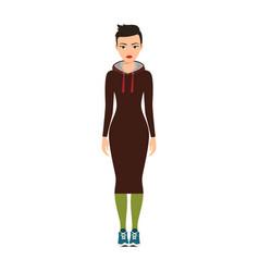 Short haired girl in long dress vector
