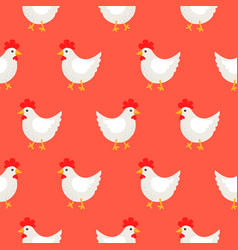 White rooster cute rural seamless pattern vector