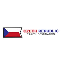Czech republic flag with travel destination words vector